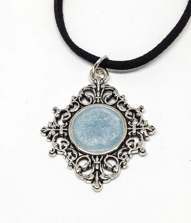 Blue Gothic Necklace, Pastel Goth, Blue Resin Pendant, Emo Necklace,
