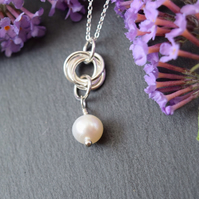 Sterling Silver Pearl Necklace, Modern Pearl Jewelry, Freshwater Pearl Pendant N