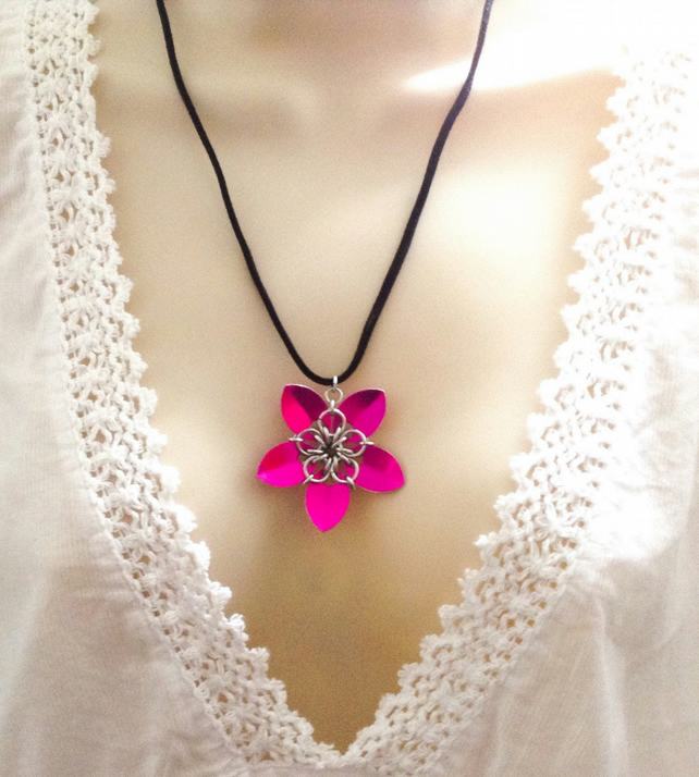 Pink Floral Pendant, Flower Necklace, Flower Pendant, Chainmaille Jewellery,