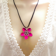 Pink Floral Pendant, Flower Necklace, Flower Pendant, Chainmaille Jewellery