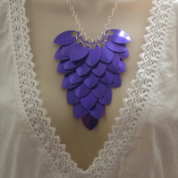 Purple Bib Necklace, Statement Necklace, Aluminium Jewellery, Scale Maille