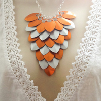 Orange Statement Necklace, Scale Maille Necklace, Chainmaille Necklace