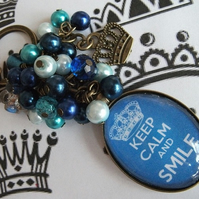 Keep calm and smile bag charm NEW