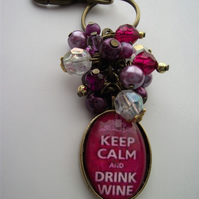 Keep calm and drink wine keyring bagcharm