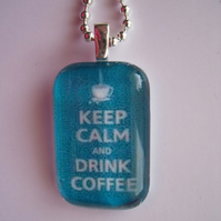 Keep calm and drink coffee in aqua blue by sunnyteddy