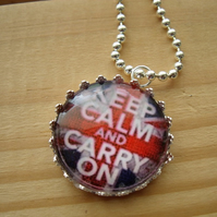 bottle top union jack keep calm and carry on pendant by sunnyteddy