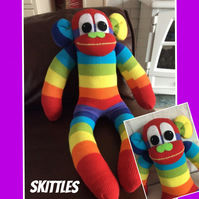 Sock monkey called Skittles by Sunnyteddys designs  CE tested for safety