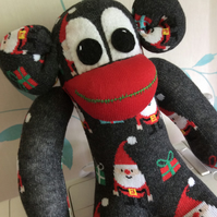 Bob santas helper sock monkey by Sunnyteddys designs