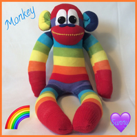 rainbow monkey sockmonkey by sunnyteddysdesigns
