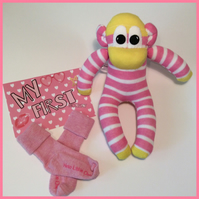 Babies first sock monkey by Sunnyteddydesigns
