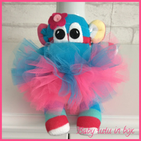 Sock monkey baby pink and turquoise by Sunnyteddy designs