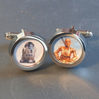 C3P0 and R2D2 Cuff Links Star Wars Cufflinks, Choose One Image or Both Cufflinks