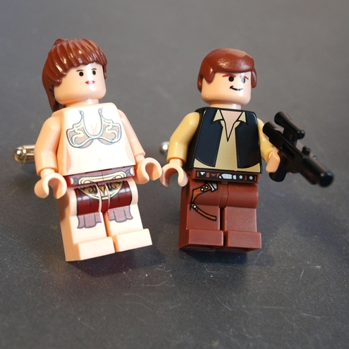 Star Wars Cufflinks, Lego Figures Han Solo and Princess Leia in the Gold Bikini