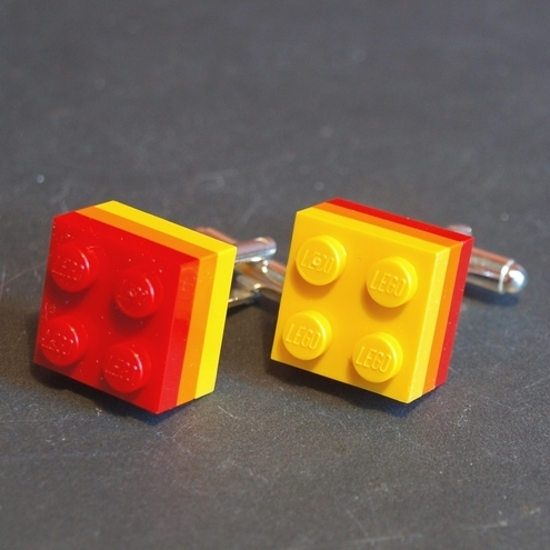 Lego Block Cuff Links Red and Gold Rainbow
