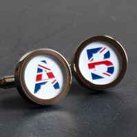 Monogram Initial Cufflinks Union Jack or Choose Another Flag for Your Initials