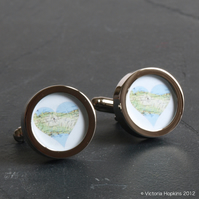 Map Cufflinks of Somewhere Special - Choose Your Country, Town or Area