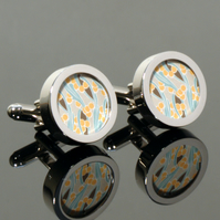 Art Nouveau Cufflinks Abstract Flowers in Yellow and Green