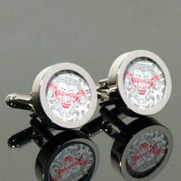 Capricorn Cufflinks Ornate Red and Silver Goat Man Design