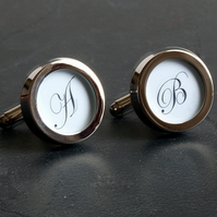 Monogram Cufflinks Beautiful Initial Cufflinks with Your Choice of Lettering