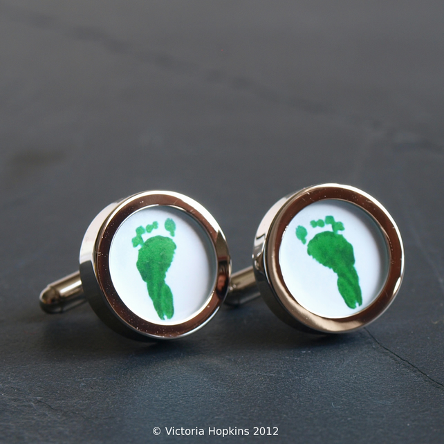 Footprint or Handprint Cufflinks From Your Children's Prints, Custom Cufflinks