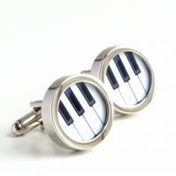 Piano Keyboard Cufflinks in Black and White for Pianists and Musicians