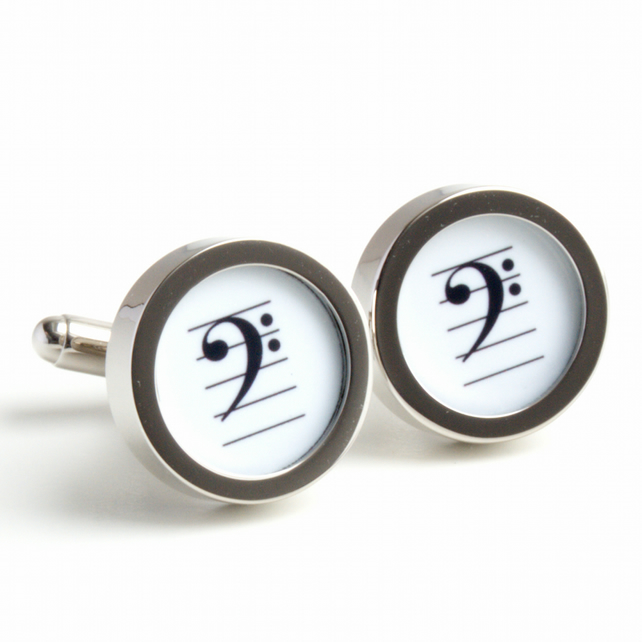 Musical Cufflinks with Bass Clef in Black and White