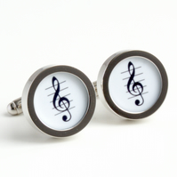 Treble Clef Cufflinks Musician Cufflinks in Black and White