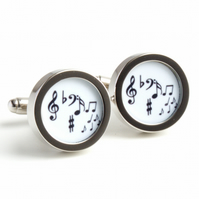 Music Cufflinks Musical Notes Cufflinks in Black and White