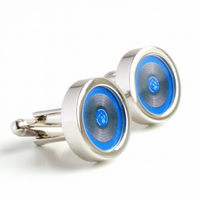 Vinyl DJ Cuff Links in Blue, Spin the Record Right Round Baby Cufflinks