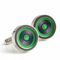 Vinyl DJ Cuff Links in Green, Spin the Record Right Round Baby Cufflinks