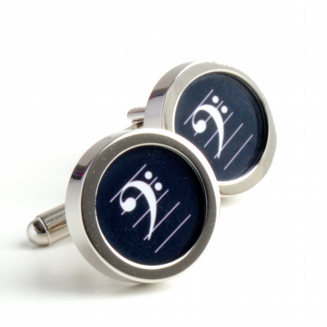 Bass Clef Cufflinks in Black and White