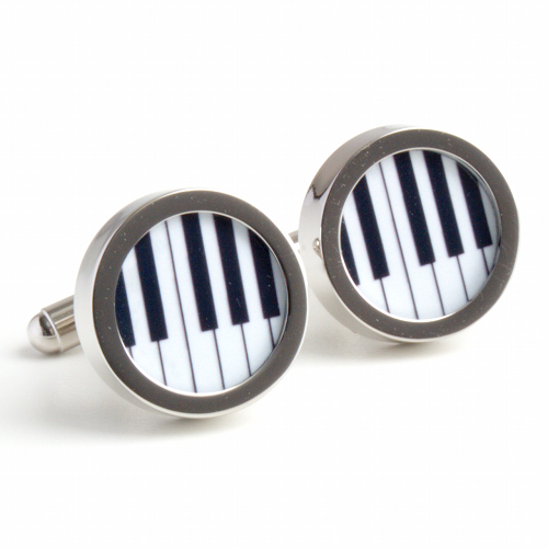 Black and White Keyboard Cufflinks One Octave