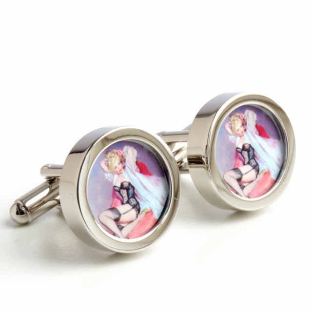 Pinup Cufflinks of a Blonde in her Undies, Vintage Style Erotic Cufflinks