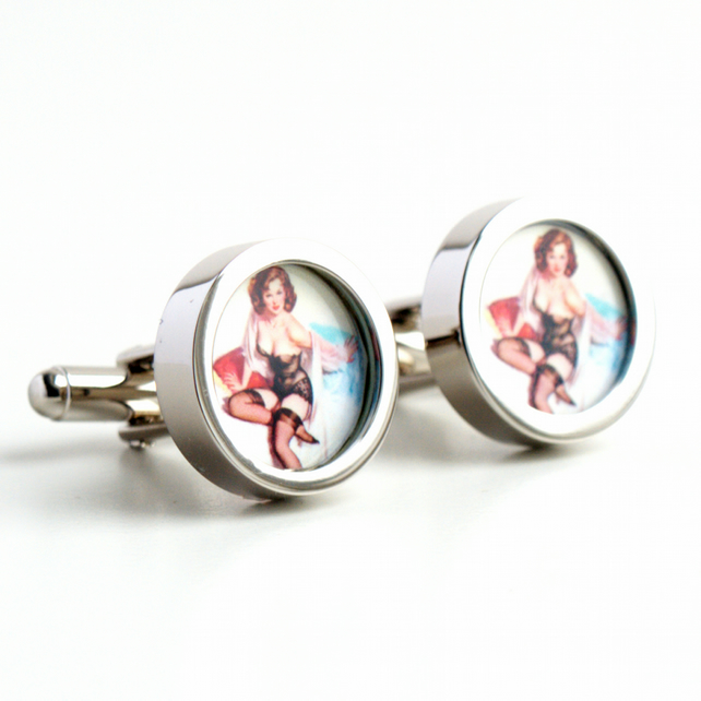 Vintage Pin Up Cufflinks of a Brunette in Black Stockings