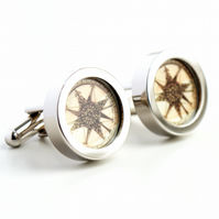 Nautical Steampunk Vintage Compass Cufflinks from the New World