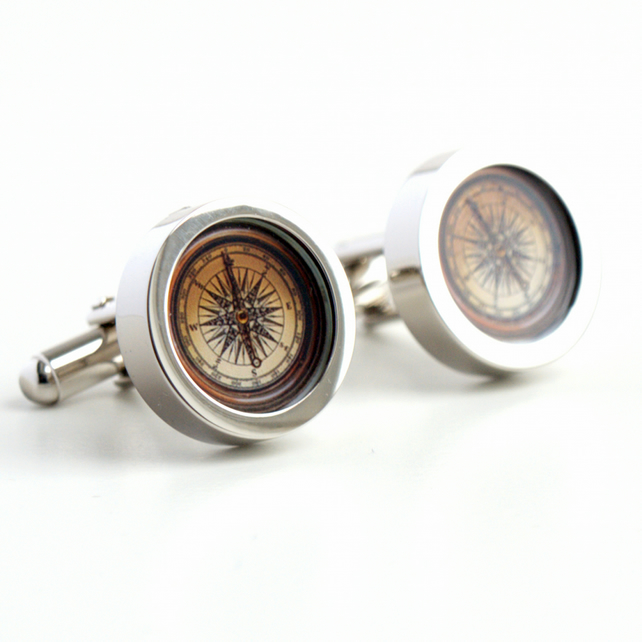 Nautical Vintage Compass Cufflinks from the New World