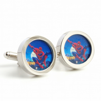 Spiderman Cufflinks Comic Book Hero