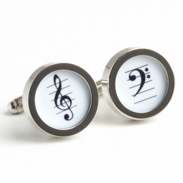 Treble Clef and Bass Clef Music Cufflinks for Any Musician in Black and White