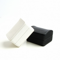 Leatherette Double Ring Box for Rings or Cufflinks - White