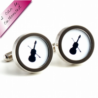 Violin Cufflinks in Black and White Silhouette Orchestra Cufflinks
