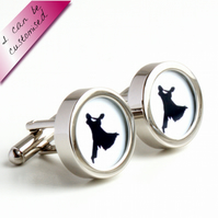 Dancing the Waltz Cufflinks in Black and White - Colour can be Customised