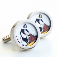 Banksy Cufflinks Maid Sweeping up the Rubbish