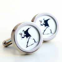 Banksy Cufflinks Youth Throwing Flowers Street Art