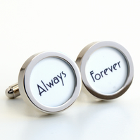 Always and Forever Cufflinks for Weddings and Special Someone, 1920s Lettering