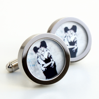 Banksy Cufflinks Police Kissing Street Art