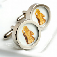 Vintage Blonde Pin Up Cufflinks of a Naked Woman