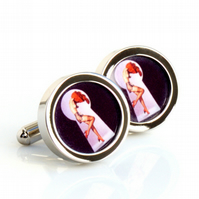 Pinup Cufflinks Girl Undressing Through the Keyhole