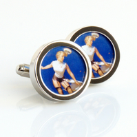 Saucy Vintage Pin Up Cufflinks of a Sailor Girl Losing Her Hat and Skirt