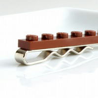 Brown Lego Tie Clip for Weddings Fun & Special Occasions, more colours available