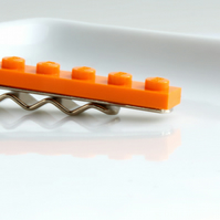 Orange Lego Tie Clip for Weddings Fun & Special Occasions, more colors available